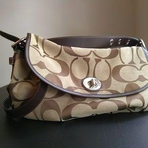 Coach signature canvas flap purse